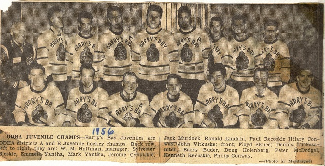 Heritage Photo: Barry's Bay ODHA Juvenile hockey champs 1956