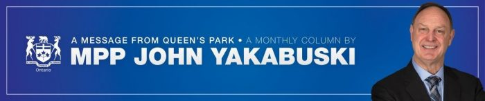 Monthly column by MPP John Yakabuski