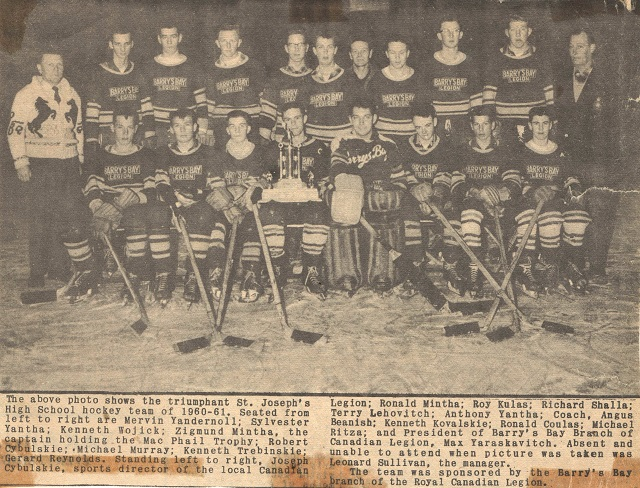Heritage Photo: St. Joseph's High School hockey team 1960-61