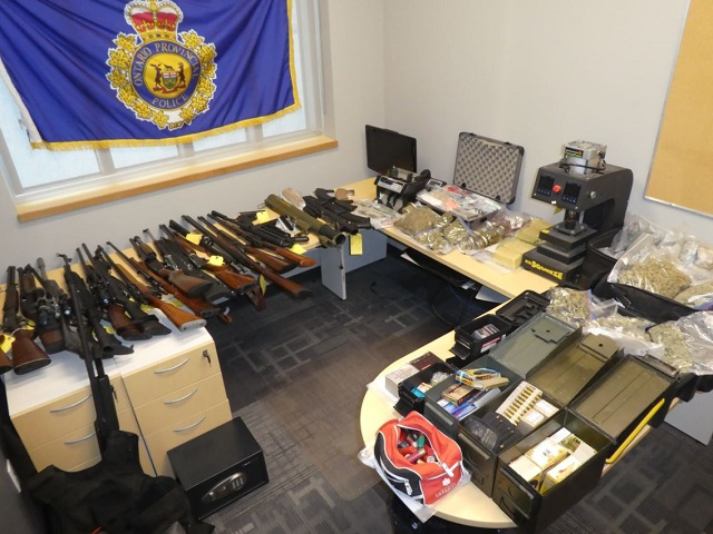 Rocket launcher among prohibited weapons and drugs seized at Pembroke home